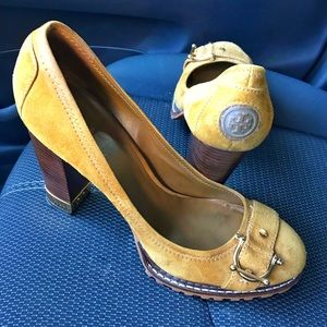 Tory Burch Camel toned Gold Embellished Heels